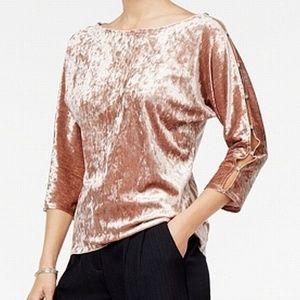 Rose Gold Pink Womens Slit Sleeve Embellish Blouse
